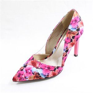 Fuchsia Floral Pointy Toe High Heels Stiletto